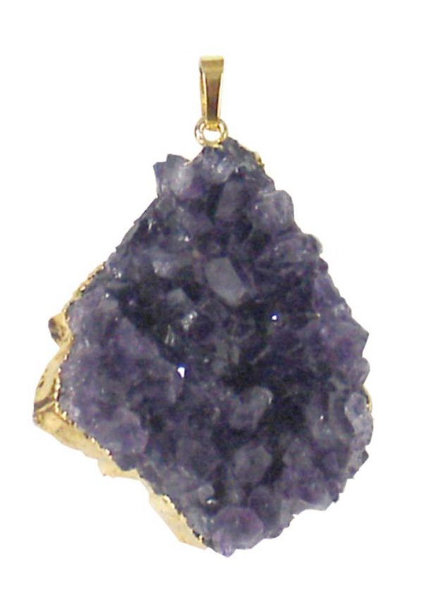 Gold Plated Amethyst Cluster Pendant