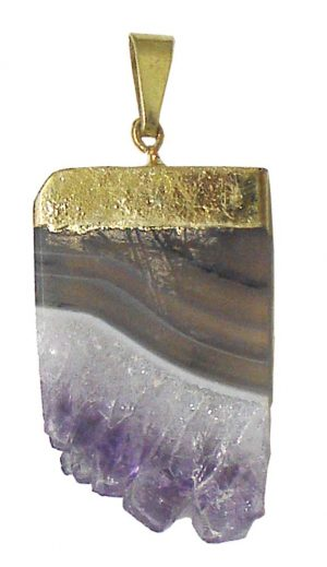 Gold Plated Amethyst Slice