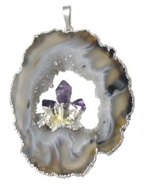 Silver Plated Geode w/ Amethyst Points