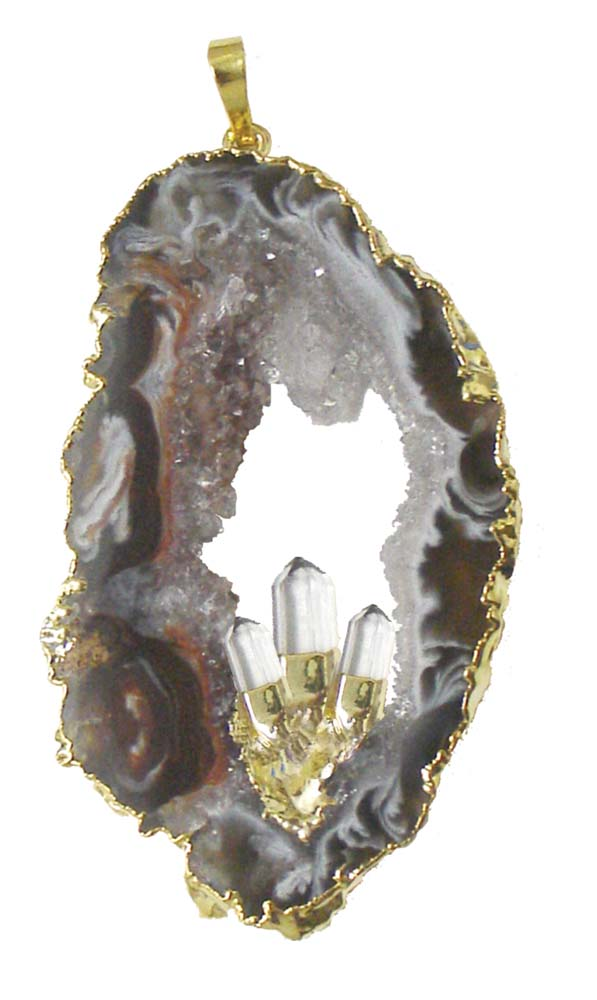 Silver Plated Geode w/ Crystal Points