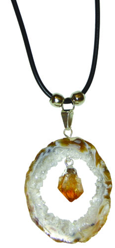 Geode with Citrine Dangle