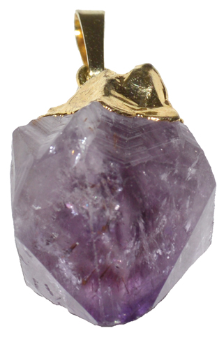 Gold Plated Amethyst Point Pendant
