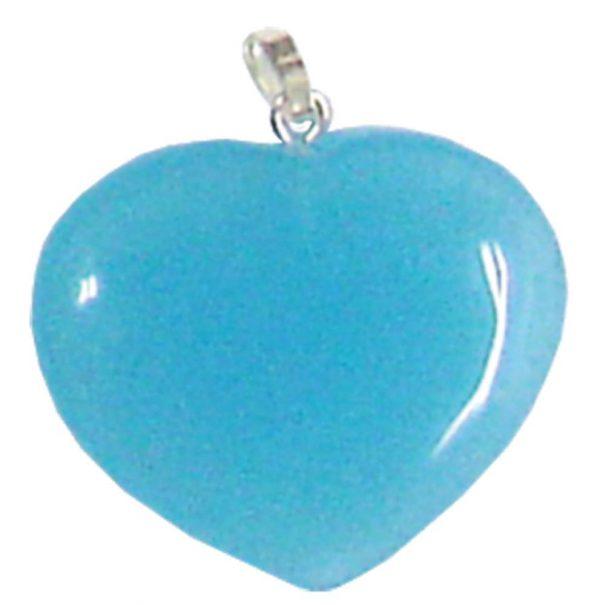 Pendant - Blue Agate Heart