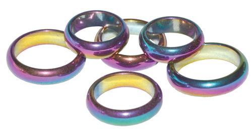 Rainbow Hematite Rings
