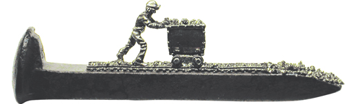 "Train Spikes 6 1/2"" Miner Pushing Ore Cart"