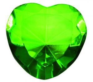 Green Glass Heart Diamond