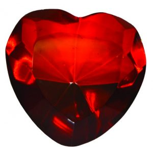 Red Glass Heart Diamond